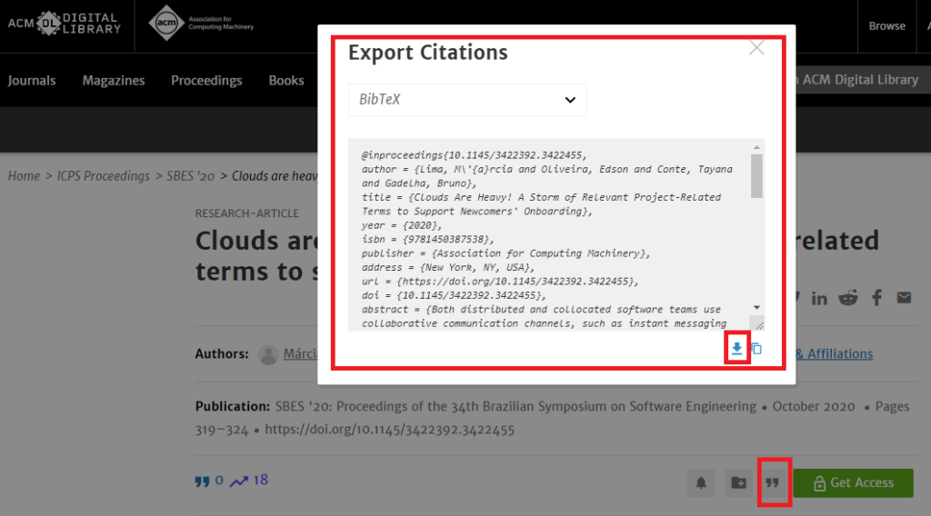 Export bibtex from ACM