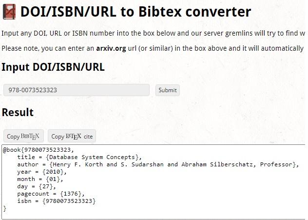 Online BibTex Generators DOI ISBN URL to Bibtex