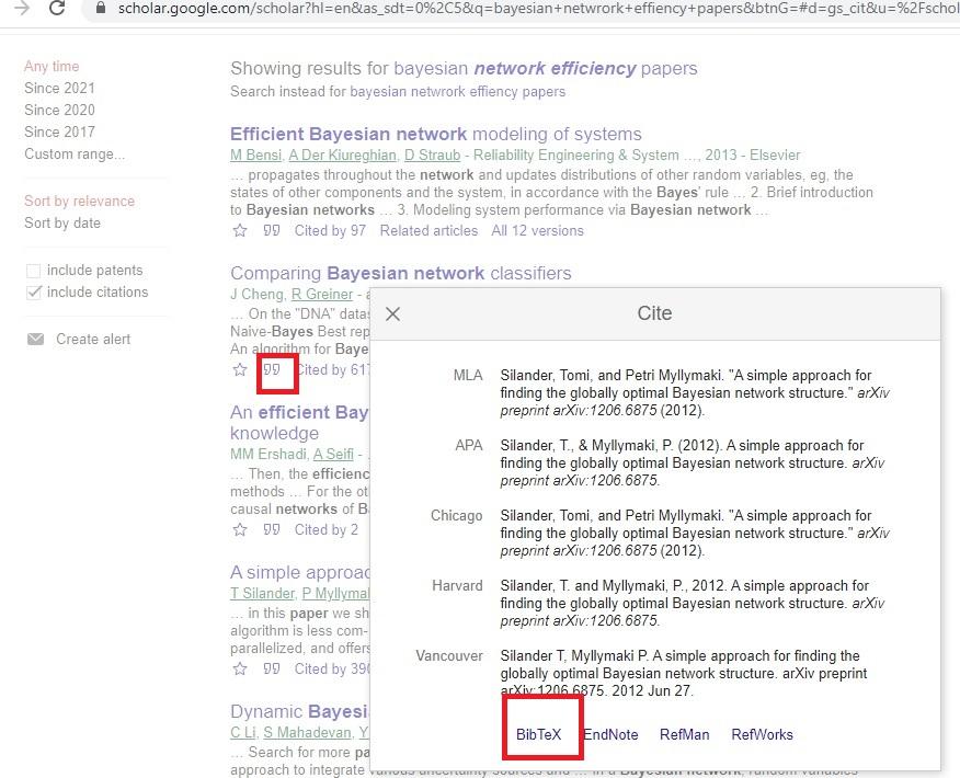 Export BibTeX from google scholar