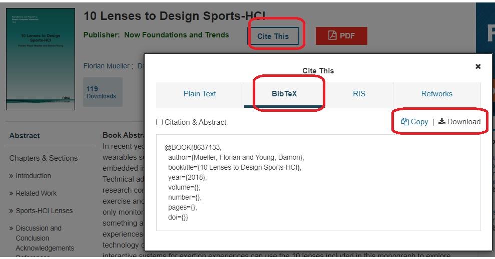 Export Bibtex from IEEE