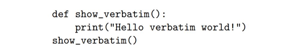 Verbatim code LaTeX