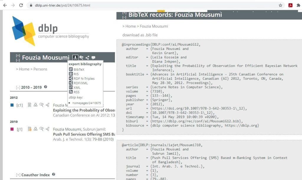 Export bibtex entries from dblp