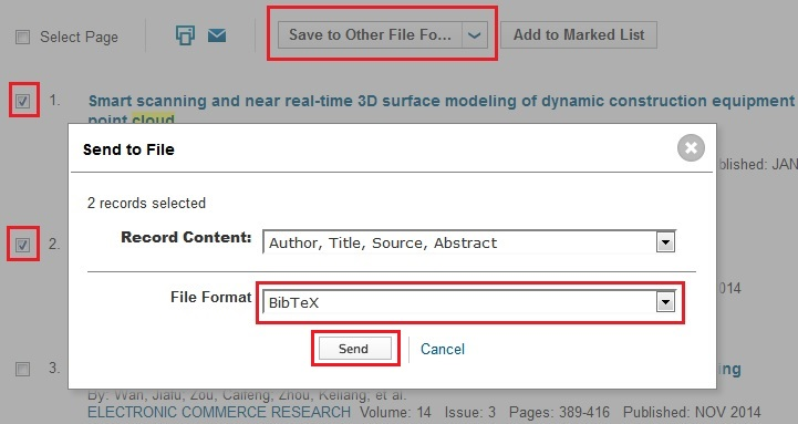 Export bibtex entries from web of science